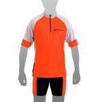 APACHE Dres MTB krátký rukáv, 1 kapsa červená/šedá