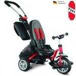 PUKY Dětská tříkolka CAT S6 Ceety s vodící tyčí červená