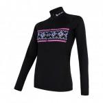 SENSOR THERMO dámské triko dl.rukáv zip černá/vzor