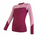 SENSOR MERINO IMPRESS dámské triko dl.rukáv lilla/pattern