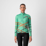 CASTELLI dámský dres Diagonal, jade green/brilliant pink