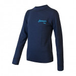 SENSOR MERINO DF LOGO juniorské triko dl.rukáv deep blue